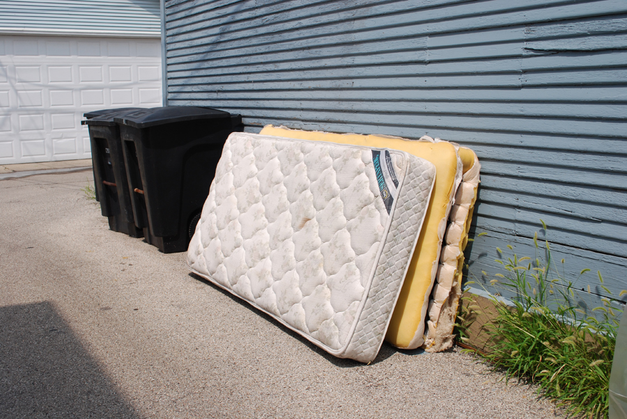this is the other mattress we found. I couldn't skin it, it smelled SO BAD! It was also really stained, and the back of it had no quilting on it. It was just flat.