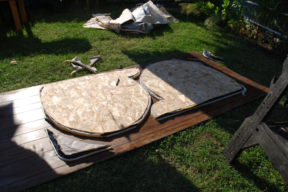 the haunches cut out. I kept the chip board on the mattress to weigh it down since it was shifting around.